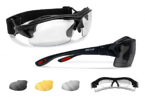 Bertoni Gafas de Sol Polarizadas de Monta/ña Glaciar Esqui Alpinismo Trekking Color: Negro Brillante Cortina Italy Mod