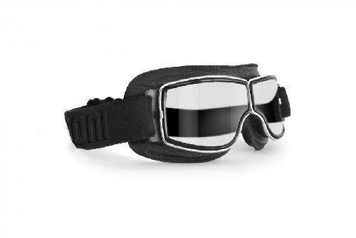 Gafas Motoristas para Cascos Moto Harley y Chopper AF195 negra BERTONI Gafas de Moto Mascara Vintage style lente clara by Italy
